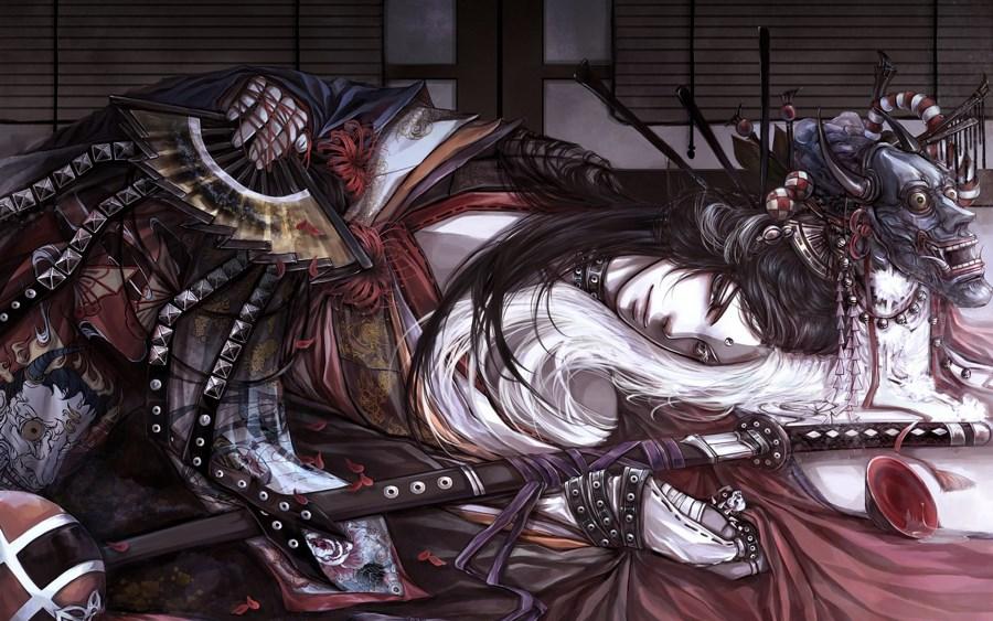 Living room bedroom <font><b>home</b></font> wall <font><b>decoration</b></font> fabric poster Art samurai mask fan katana yarn flowers petals piala <font><b>asian</b></font> oriental