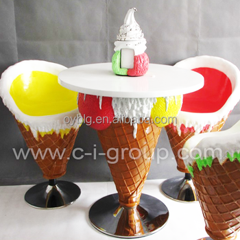 Fiberglass Ice Cream Furniture Table And Chairs For Sale