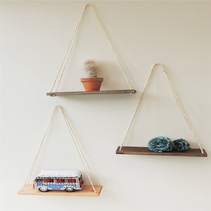 Minimalist decoration wooden floating swing wall shelf with rope
