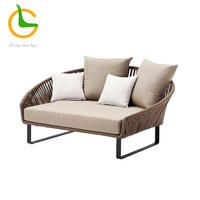 Hot Selling Leisure Stable Little Pool Use Rattan Chaise Longue , White Romantic And Beautiful Handmade Outdoor Wicker Chairs