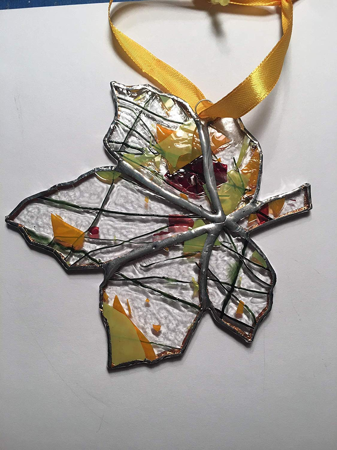 handmade stained glass fall leaf sun catcher