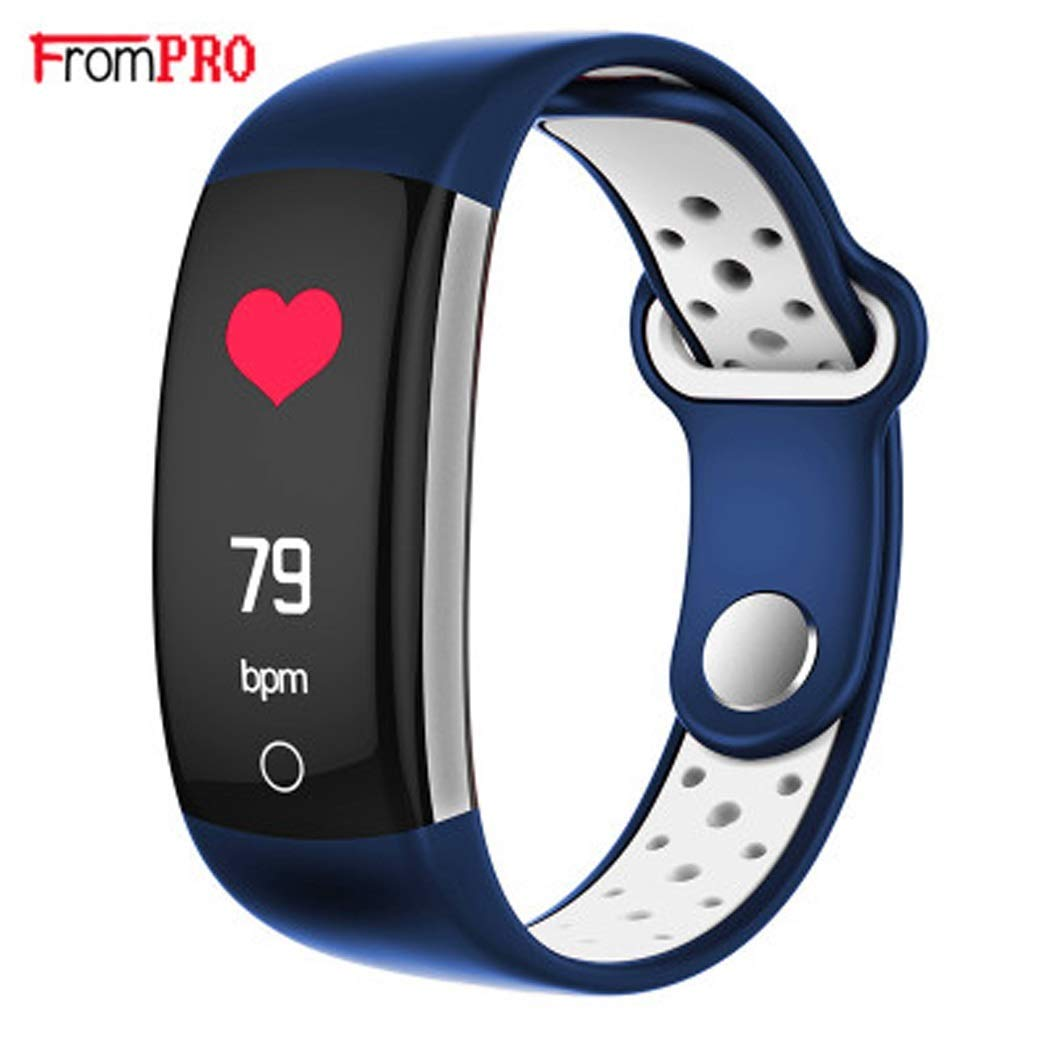 YWY Fitness Tracker Heart Rate Smart Bracelet Wearable Pedometer Touch Screen Bluetooth Activity Tracker Fitness Watch for Android and iOS Smart Phones (Color : Blue)