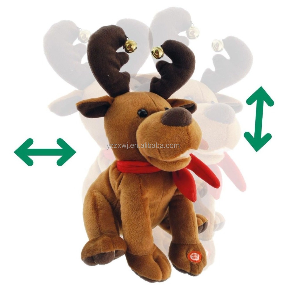 Wholesale Factory soft plush stuffed custom electric Christmas musical decorative reindeer toy for kids play Gift