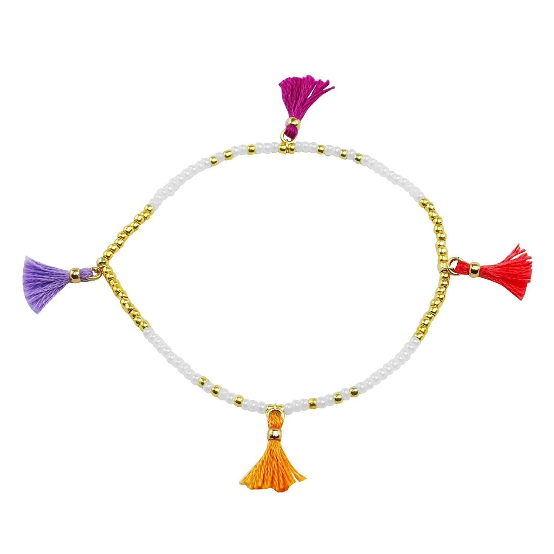 Tropical Tassel seed bead bracelet / handmade tassel bracelet / tassel bracelet charms / tiny tassel / mini tassel / tassel bracelet for women / purple boho tassel bracelet / free gift box included