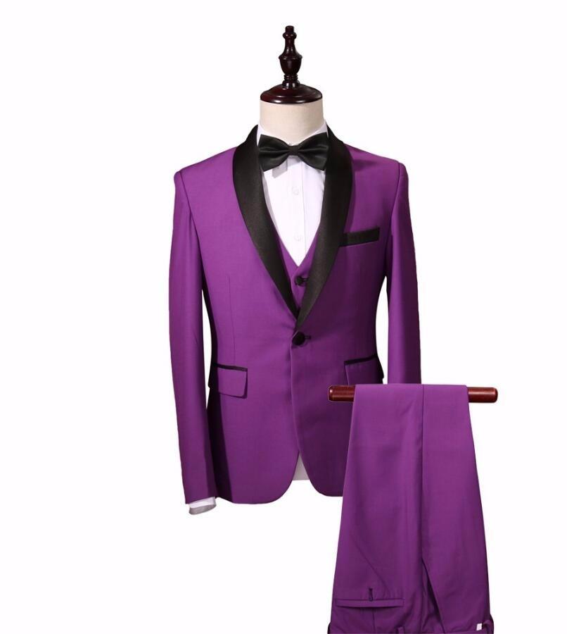 HB038 color púrpura (chaquetas + chaleco + Pantalones) hombres ...