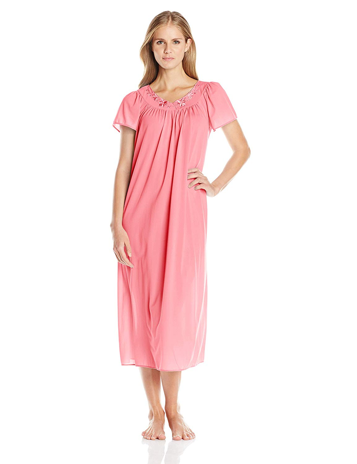 Get Quotations · Miss Elaine Women s Tricot Long Flutter-Sleeve Nightgown 9b3f7ec77
