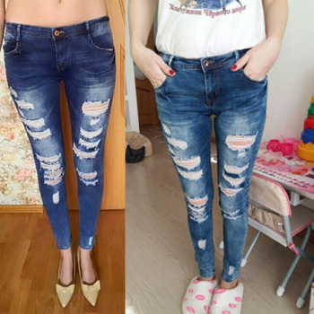 b1043268ea023 En stock Venta caliente mujeres cielo azul ripped jeans pantalones precios  en Bangladesh muchacha en feelingirldress