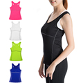 Yoga Woman running sports shirt elastic breathable wicking quick drying vest no rims gym