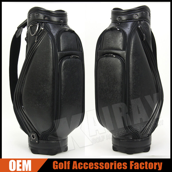 Custom leather golf caddie bag & golf cart bag