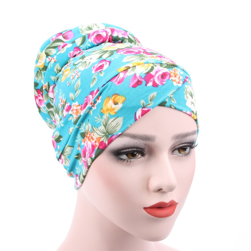 Wholesale New Fashion Floral Leopard Print Muslim Hat Casual Cotton Women Turban Bandana