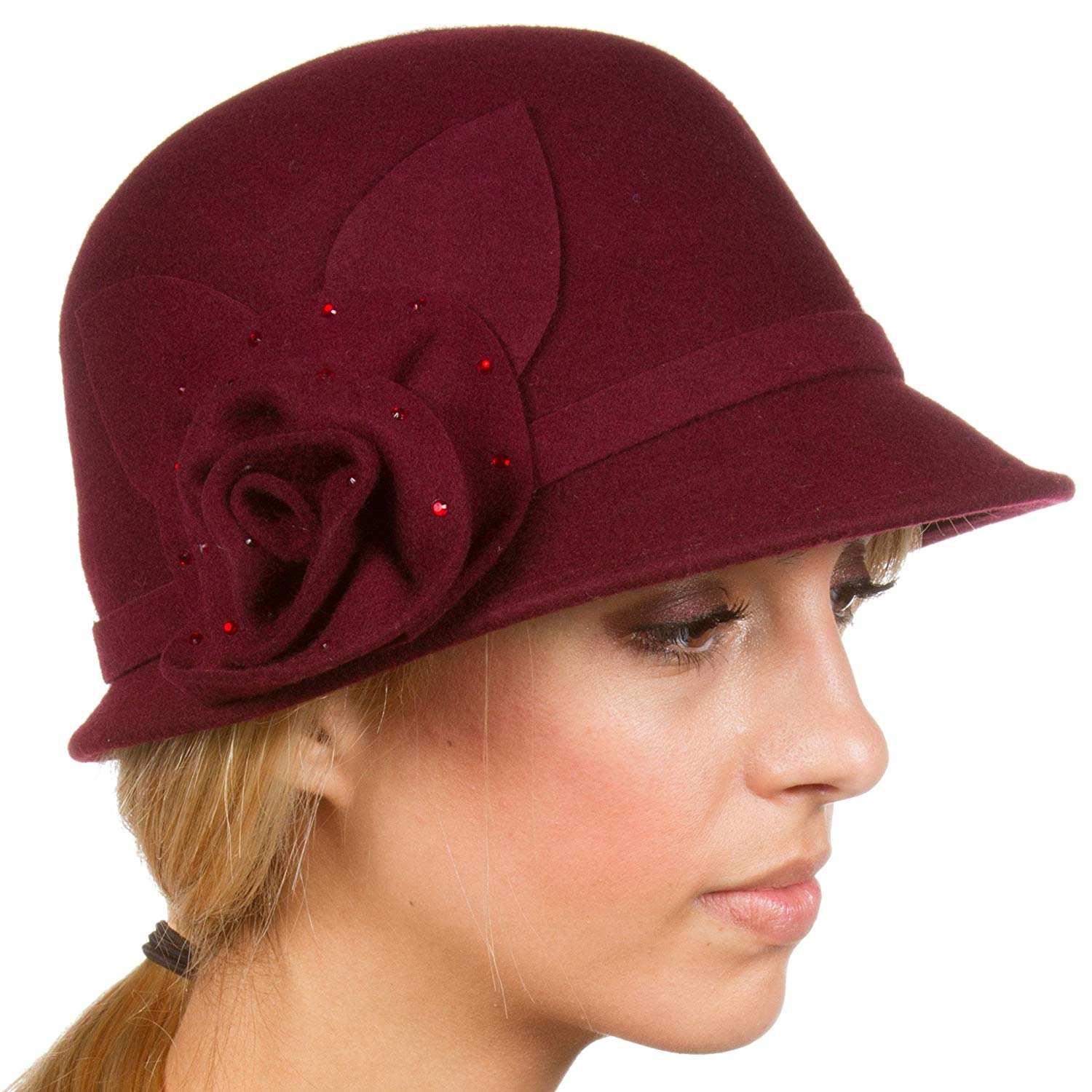 8616c4803bf Get Quotations · Sakkas Jewel Vintage Style Wool Cloche Bell Hat