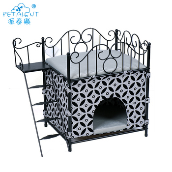 Luxury Round Metal Pet Bed With Ladder