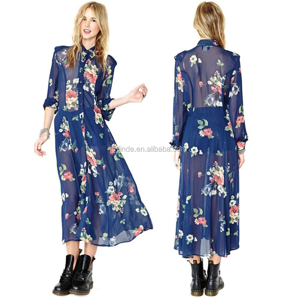 2017 New Vintage Retro Navy Blue Chiffon Floral Print Dress Turn Down Collar Maxi Long Sleeve Dresses