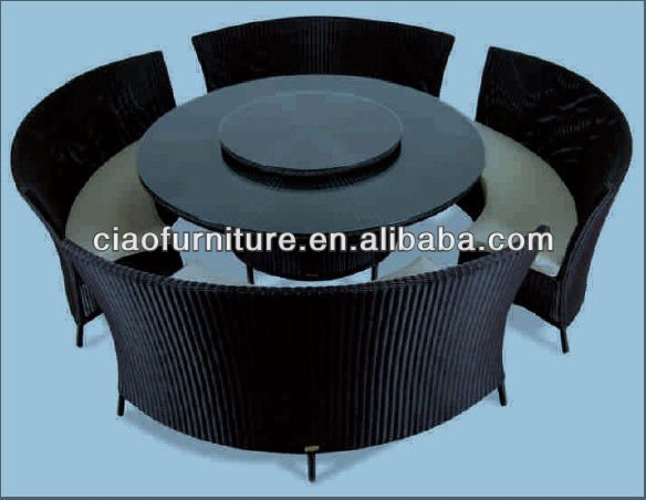 wholesale rattan Restaurant table with a rotating disk