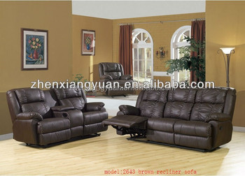 Decoro Brown Leather Sofa Recliner With Lounge