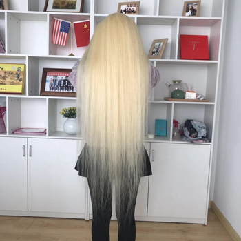 30 inch long length 100% virgin hair cheap price #613 silky straight full lace front swiss long blonde wig