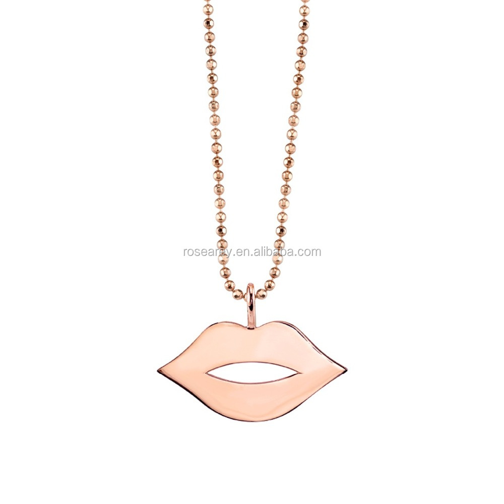 Rose Gold Pure Lips Necklace custom latest design necklace for women hot selling jewelry 2017