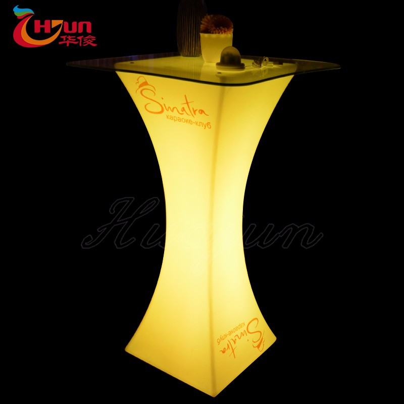 night club lighting illuminated LED table rechargeable plastic led light up bar table