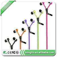 New metal zipper headphones 3.5mm in-ear wired ear phones,sport mp3 led stereo mobile headset with high quality