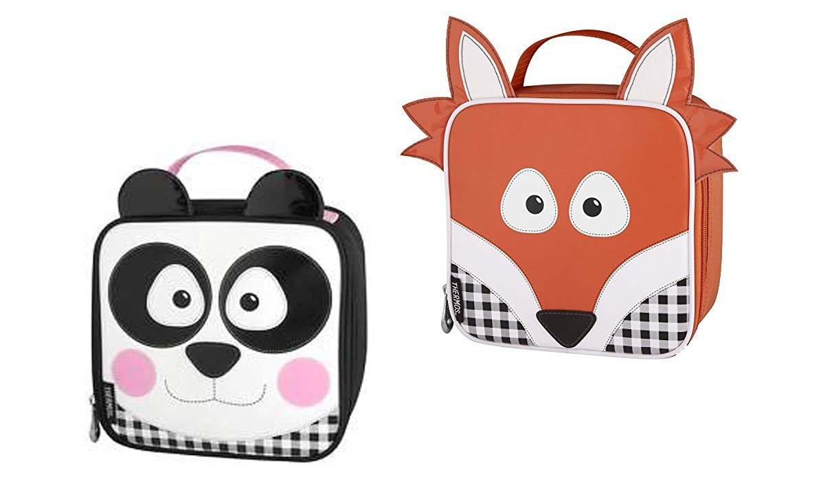 Set of 2 Brand Insulated Panda and Fox Designed Lunch Totes