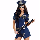 Police woman's sexy uniform entices blue zipper police to dress up for Halloween party costumes