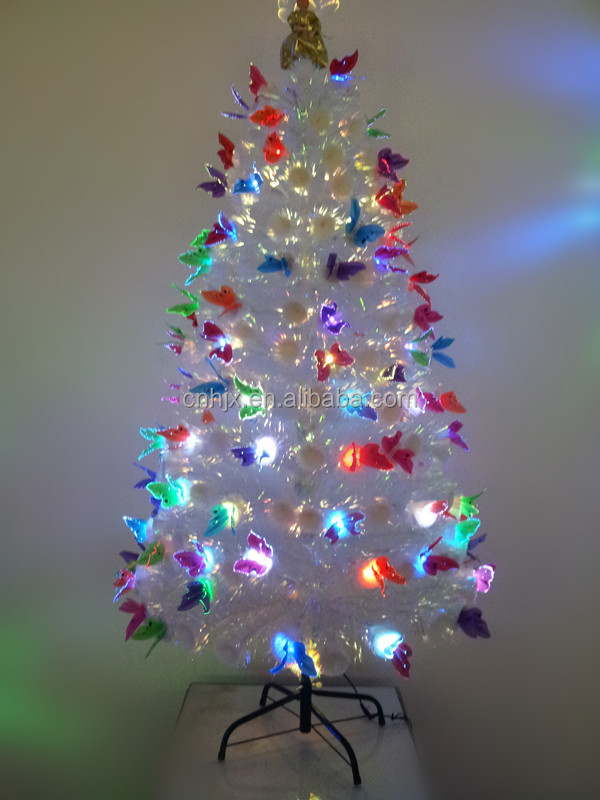 5FT/150CM White Charming Fiber Optic Christmas Tree With Angel Top,  Multi-color - 5ft/150cm White Charming Fiber Optic Christmas Tree With Angel Top