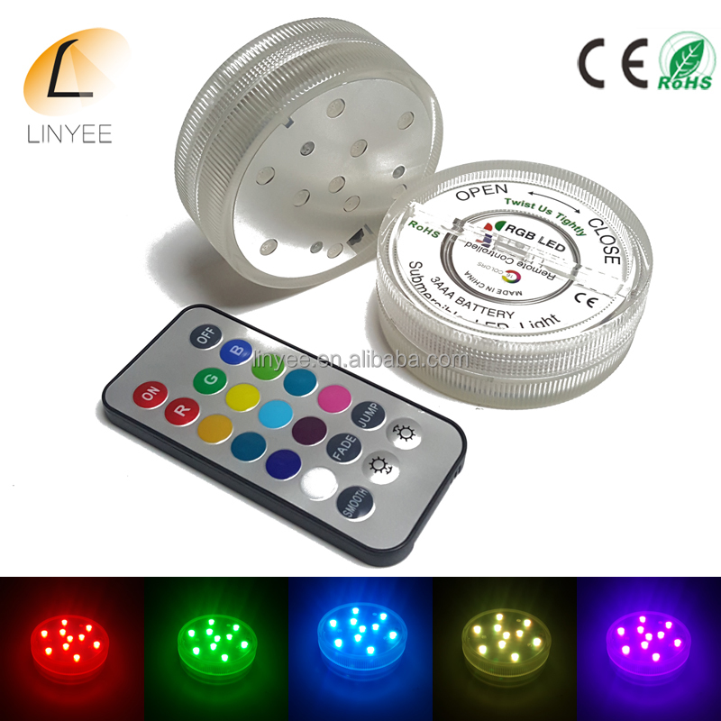 super bright battery operated RGB LED Submersible Light for vase Base Tea Floralytes Halloween Christmas Home Party Waterproof