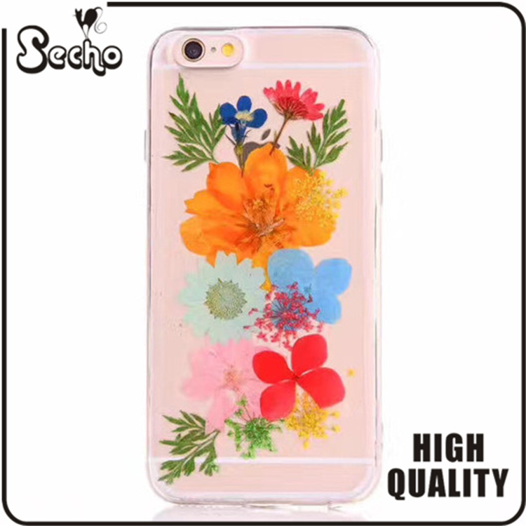 For cellphone Cases,for samsung galaxy s7 edge Epoxy Dripping Pressed Real Dried Flower Soft Transparent TPU Protective Case