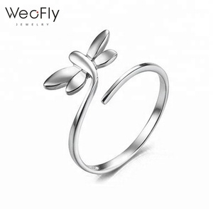 2019 Top sell s925 sterling silver lovely dragonfly open ring high polished fashionable cute animal adjustable ring for girls