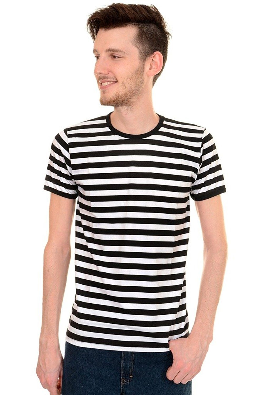 Mens Indie Retro 60's Black & White Striped Short Sleeve T Shirt