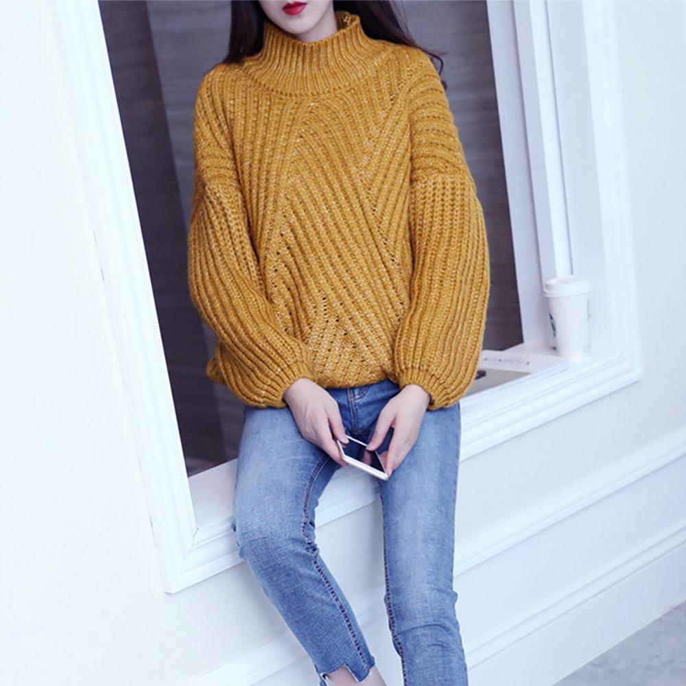 Invierno amarillo color grueso de punto acrílico grueso cuello redondo sudaderas lindo suéter