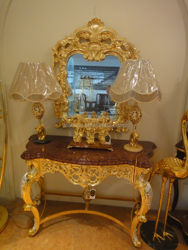 Deluxe Gold Plated Console Table With Mirror, Brass With 24K Gold Plated  Console Set,