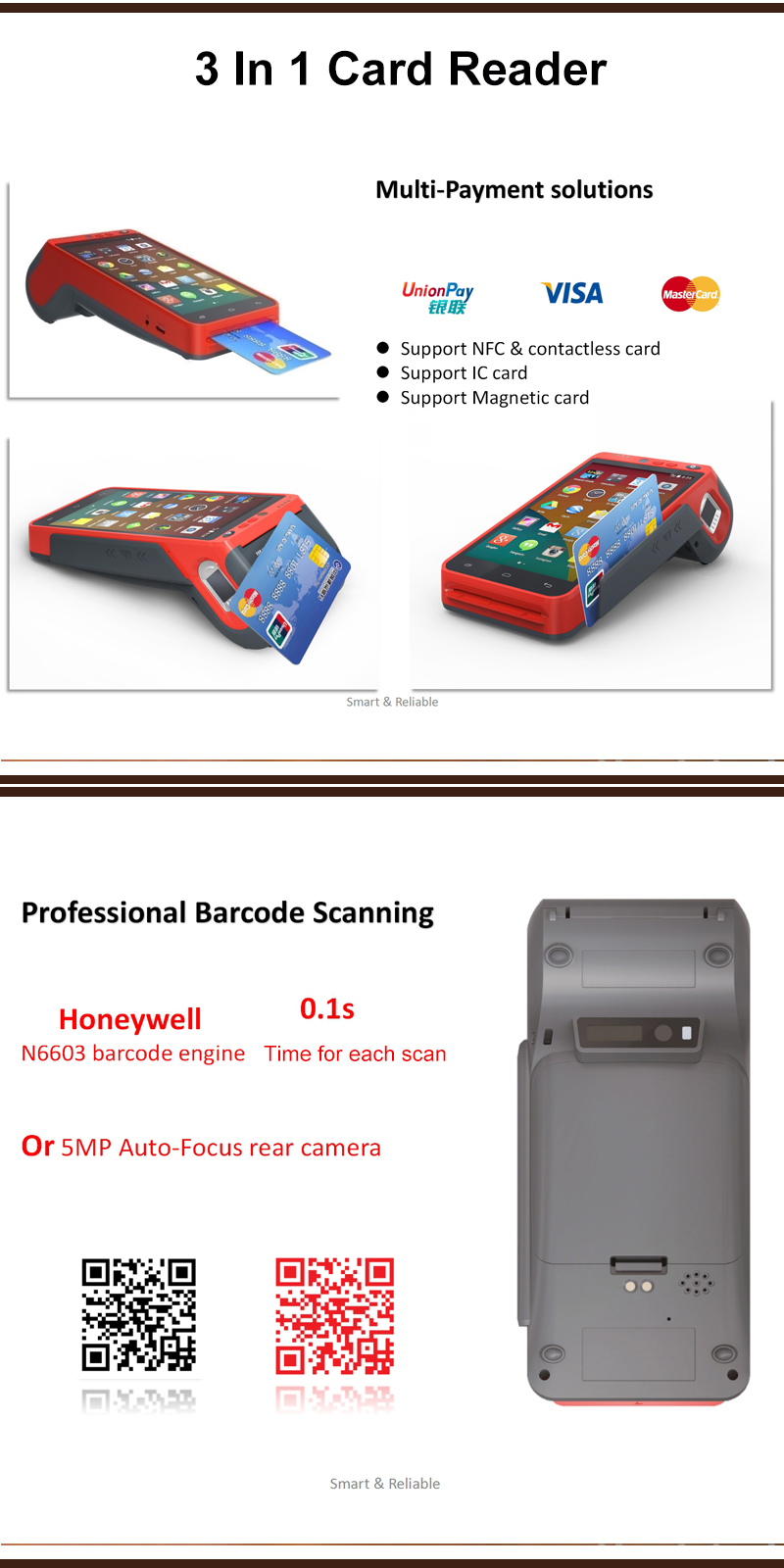 QR Barcode Scaning All In One Wireless 3G 4G Android POS Terminal With Thermal Printer HCC-Z100