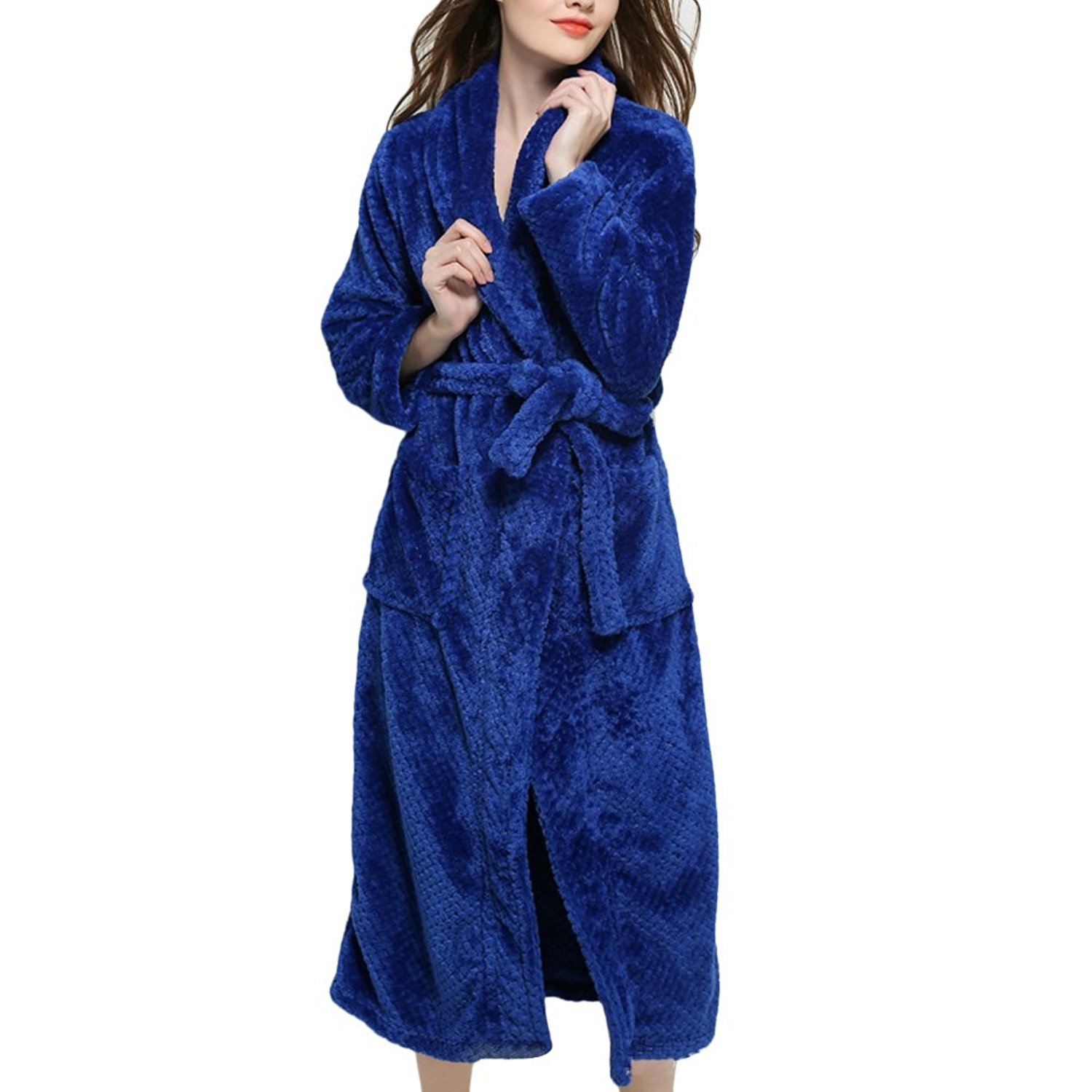 268c040bc0 Get Quotations · Zhhlinyuan Mens Ladies Waffle Coral Fleece Bath Robe  Dressing Gown Kimono Bathrobe