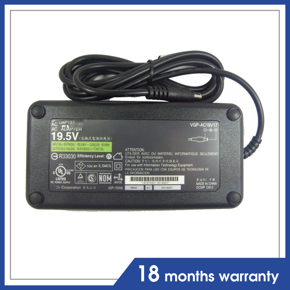Original laptop 150W AC adapter For Sony 19.5V 7.7A VGC-JS VGC-JS210 VGC-JS220 VGC-JS220N VGC-JS230 VGC-JS230J