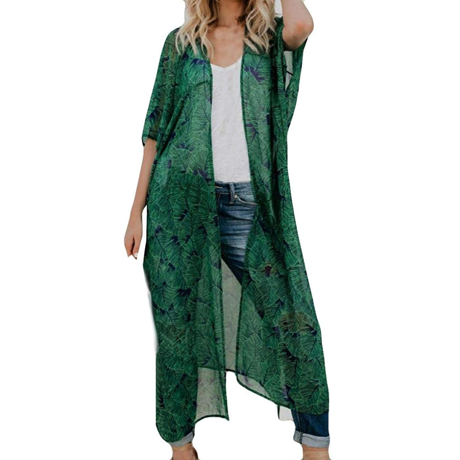 RNTop® Women Cardigan, Women Chiffon Smock Long Bikini Swimwear Swimsuit Cover up Green Cardigan