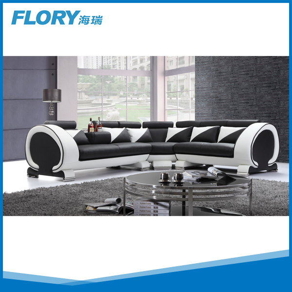 Chinese furniture sectional sofa in black white F824
