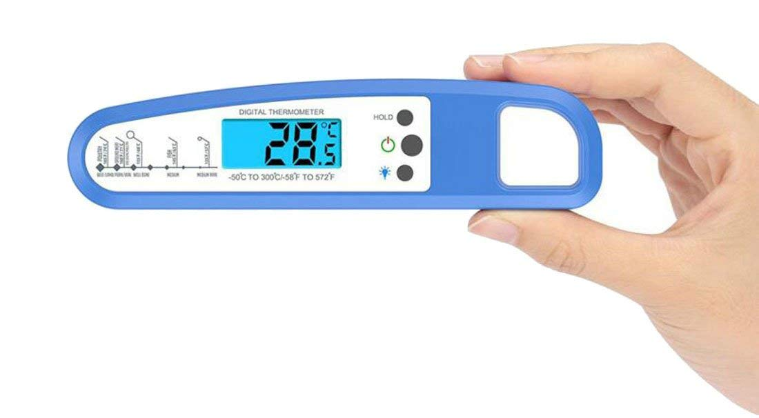 Lutratocro Instant Read Cooking Thermometer, Waterproof Digital Meat Thermometer Super Fast Food thermometer with Collapsible Probe LCD for BBQ Grill Cooking Smoker Liquid Blue