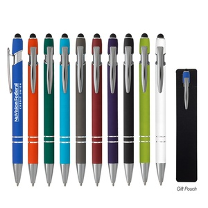 Incline Stylus on Top Plunger Action Rubberized Aluminum Gift Pouch Logo Printed Ballpoint Pen