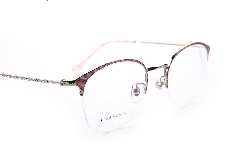 8cfa87fe3d Get Quotations · D6069 KHOTY Fashion Eyeglasses Frame Imported Alloy Memory Metal  Women s Men s Semi-rimless Retro Eyewear