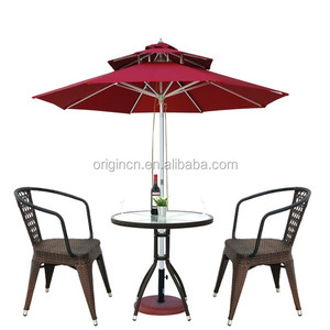 2016 vogue 3 piece balcony tables and chairs with rattan hollow out back and round small design outdoor bar