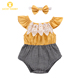 Newborn Plaid Onesie Baby Girl Two-Piece Set Bow Headband Baby Girl Lace Newborn Lace Baby Romper