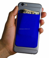 Adhesive Phone Wallet, a Stick On Stretchy Lycra Card holder Universally fits most Cell Phones & Cases