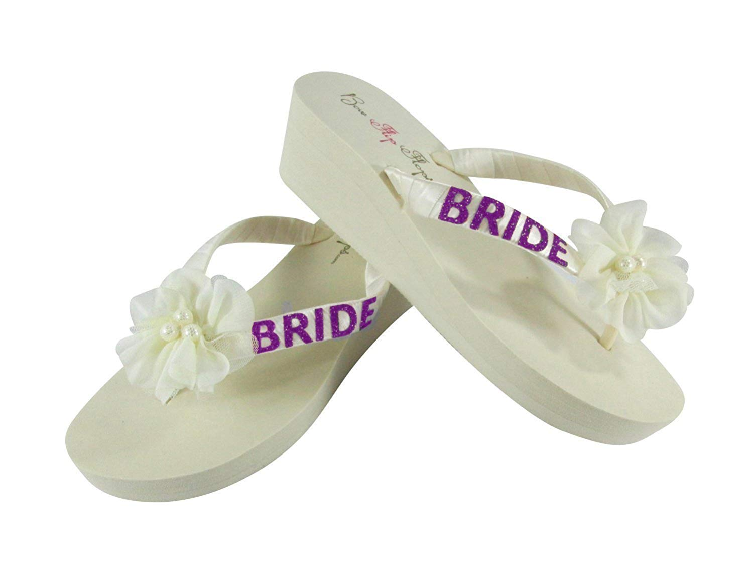 2305b3b58bf424 Get Quotations · Chiffon Pearl Flower and Hot Pink Glitter Wedge Flip Flops  for the Bride