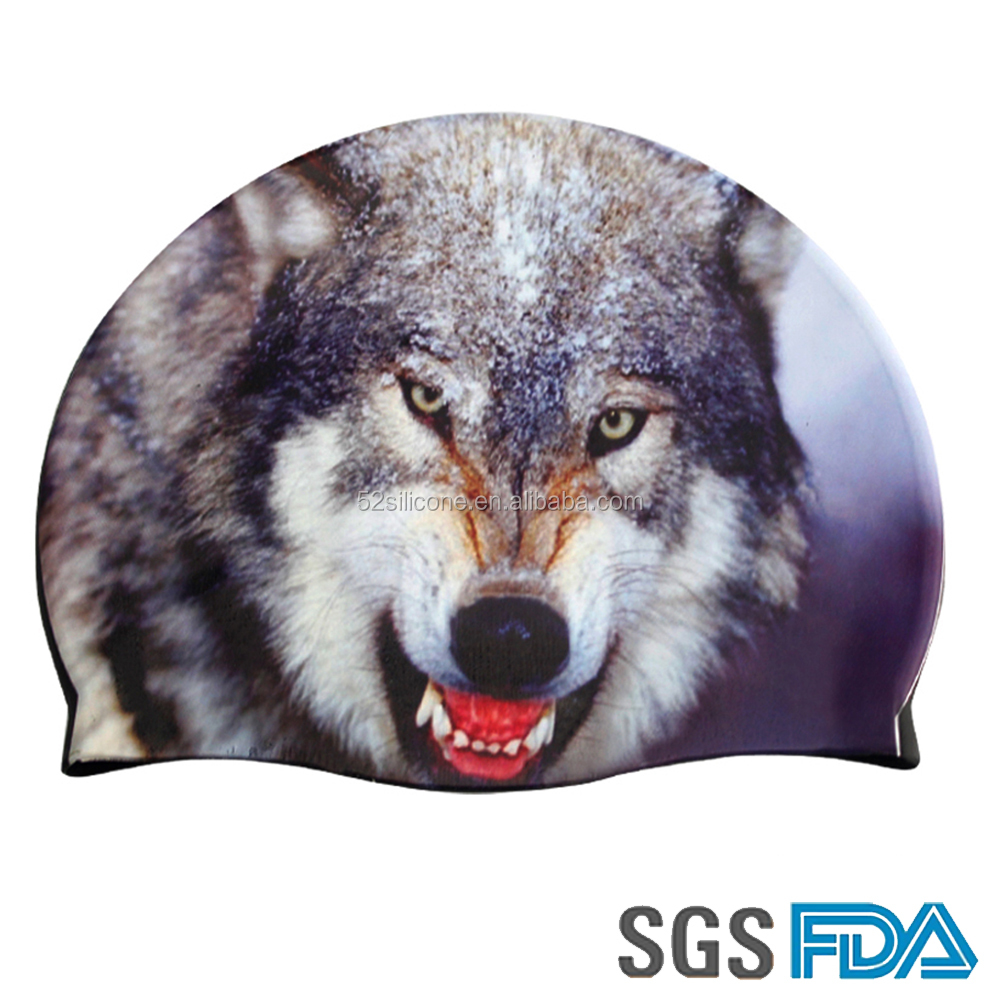 Cool Summer Wolf Swimming cap for handsome boy Silicone rubber swim caps
