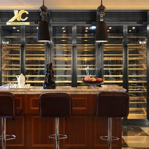 Commercial cooling stainless steel display cabinets luxury wall large wine whiskey display cabinet