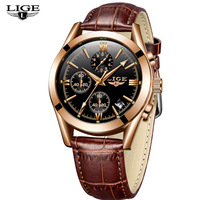 Newest Men Design Hand Clock LIGE 9839 Leather Waterproof 30 Meters Men Watch Luxury Brand From China Guangzhou