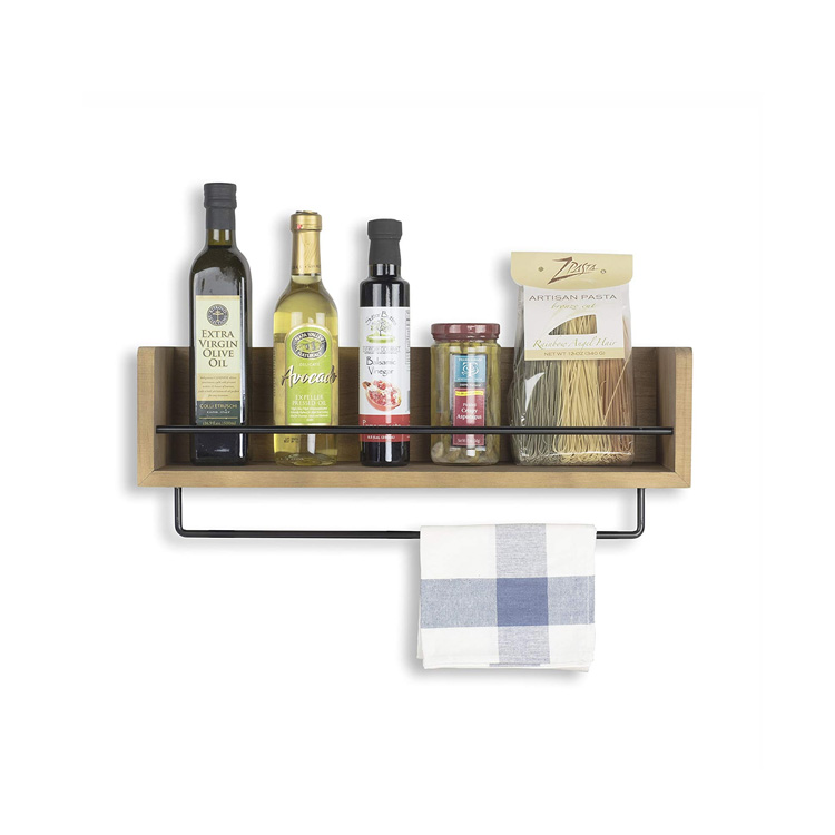 OEM Angepasst Rustikalen Spice Rack Küche Holz Wand Regal Mit Metall Draht