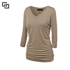 Women's Taupe Color V neck Long Sleeve T Shirt For Lounge wear Tunic