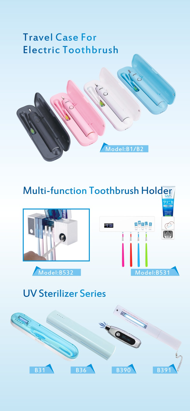 Oral care draagbare UV Tandenborstel sanitizer holder B532 en Tandpasta dispenser met auto timer en drogen